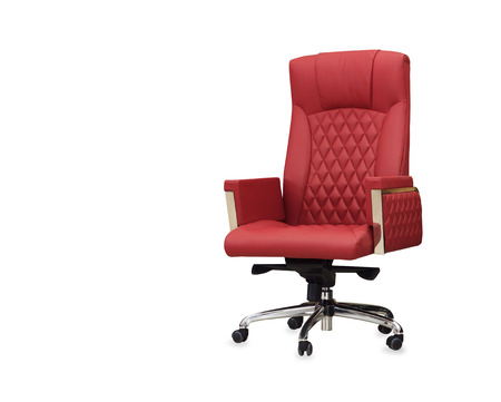 The office chair from red leather. Isolated photo