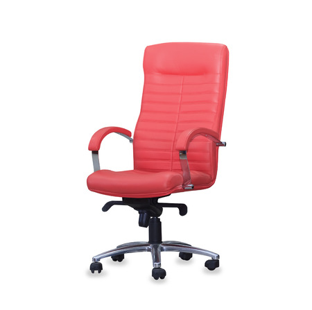 Modern office chair from red leather. Isolated photo
