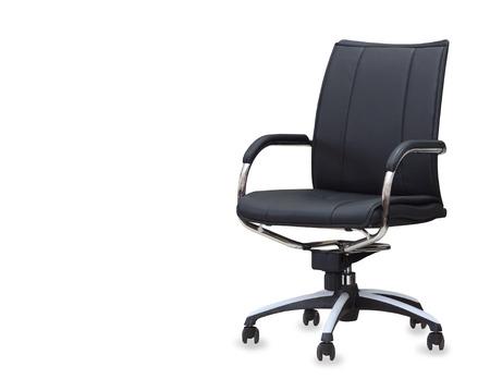 De bureaustoel van zwart leer. Geïsoleerd Stockfoto
