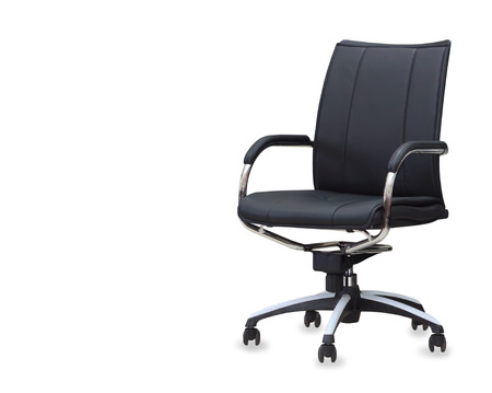 arms chair: The office chair from black leather. Isolated