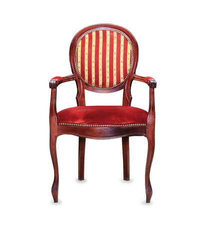 Vintage classic red armchair isolated over white photo