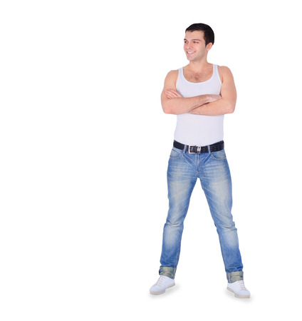 Young fashion man standing over white photo
