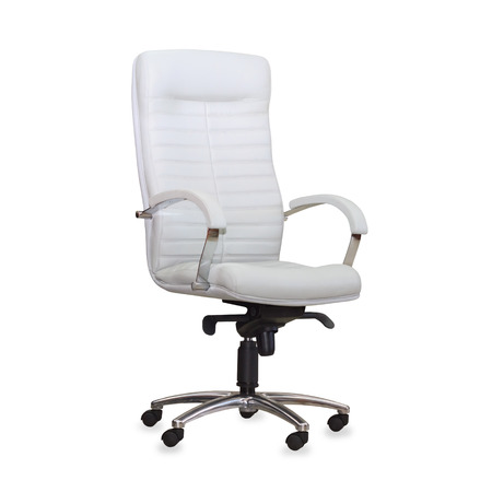 Modern office chair from white leather. Isolated photo