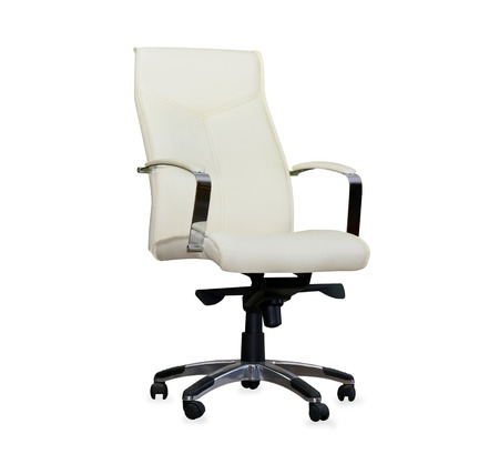 Modern office chair from pearl leather. Isolated photo