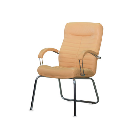Modern office chair from beige leather. Isolated photo