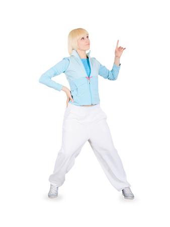 breakdance: Teenager dancing breakdance in action over white