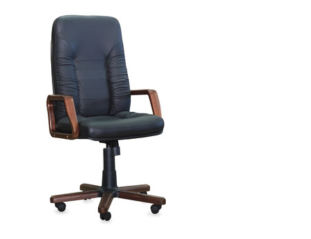 Modern office chair from black leather. Isolated photo