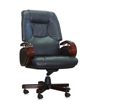 elbow chair: Modern office chair from black leather. Isolated