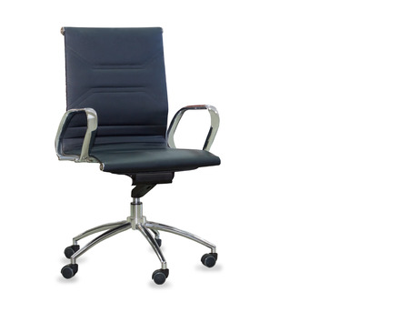 people sitting on chair: Modern office chair from black leather. Isolated
