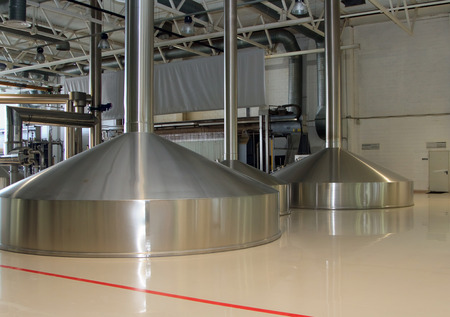 vats: Moscow Russian Federation  March 07: Brewing production  mash vats. Moscow Brewing Company. Editorial