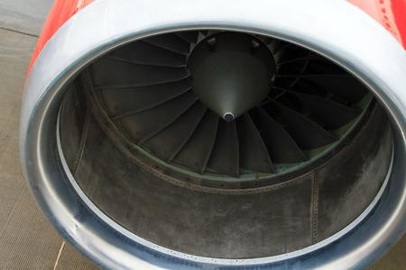 aluminum airplane: Turbojet engine of the plane close up Stock Photo
