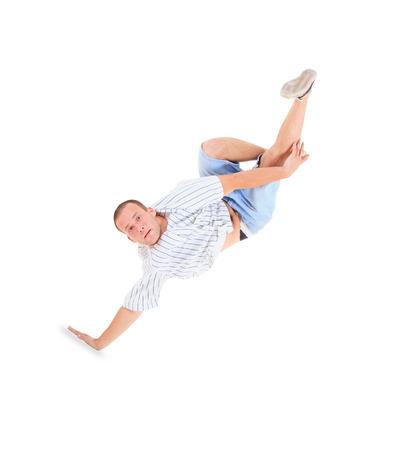 breakdance: Teenager dancing breakdance in action
