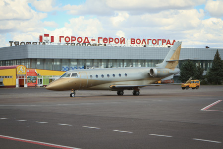 lending: Volgograd, Russian Federation, August 07,2015:  Airplane lending at the Airport terminal in Volgograd city.