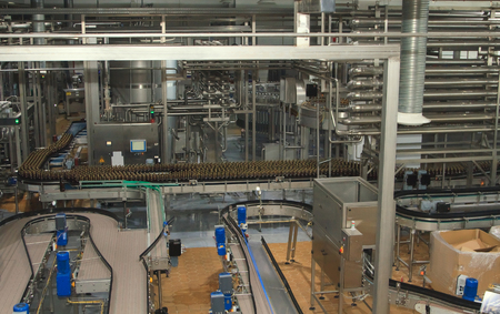 bottling: Moscow, Russian Federation March 07, 2015: Plastic water bottles on conveyor or water bottling machine Editorial