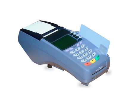eftpos: POS terminal and credit card processing isolated over white background Stock Photo