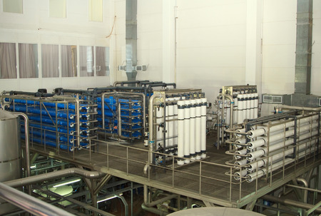 desalination: Moscow, Russian Federation - March 07, 2015: filter system at a large beer company, Moscow Brewing Company.