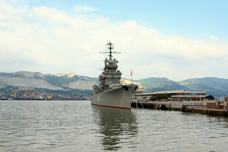 mikhail: Novorossiysk, Russian Federation - 04 July 2015: The cruiser Mikhail Kutuzov - the ship-museum moored in Novorossiisk on the central waterfront. Editorial