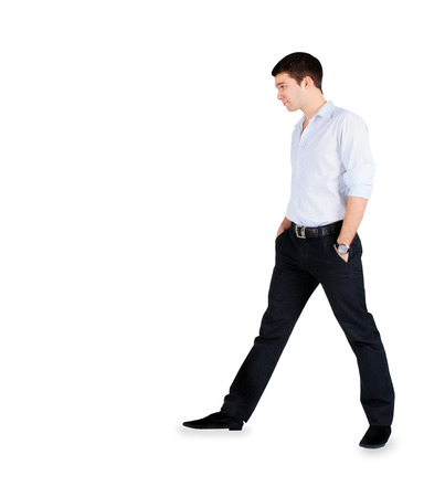 Handsome fashion Man standing over white photo