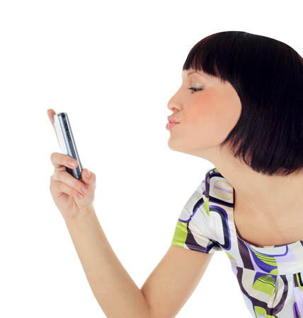 gprs: Bright picture of happy woman with cell phone