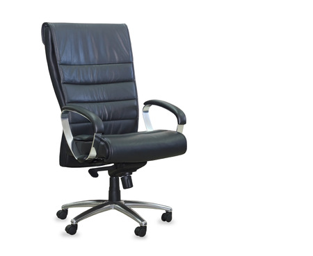 arms chair: Modern office chair from black leather. Isolated