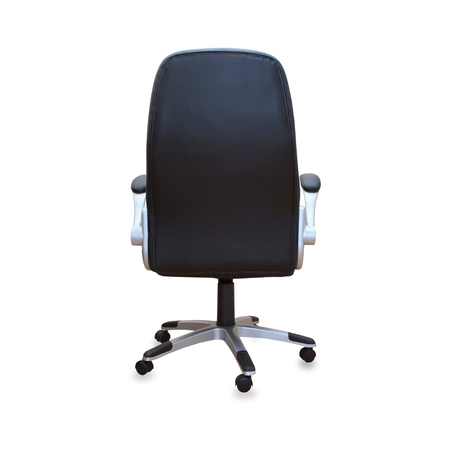 comfortable chair: Modern office chair from black leather. Isolated