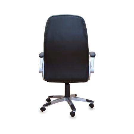 ejecutivo en oficina: Silla de oficina moderno de cuero negro. Aislado Foto de archivo