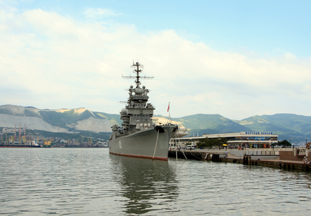 mikhail: Novorossiysk, Russian Federation, 04 July 2015: The cruiser Mikhail Kutuzov - the ship-museum moored in Novorossiisk on the central waterfront.