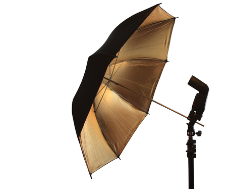 strobe lights: Light stand with flash and umbrella holder Stock Photo
