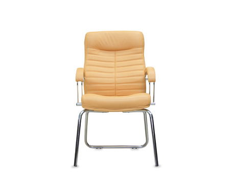 elbow chair: Modern office chair from beige leather. Isolated
