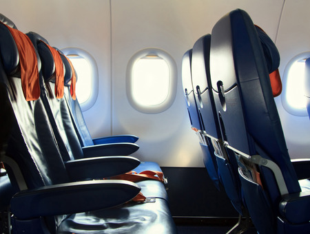 plane window: Volgograd, Russian Federation, August 07,2015:  Chairs in the plane of Aeroflot company