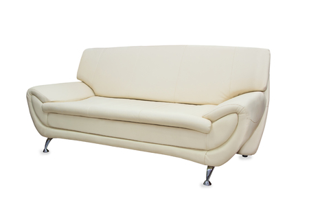 white sofa: Modern stylish sofa from beige leather isolated over white