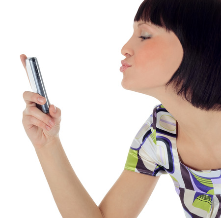Bright picture of happy woman with cell phone photo