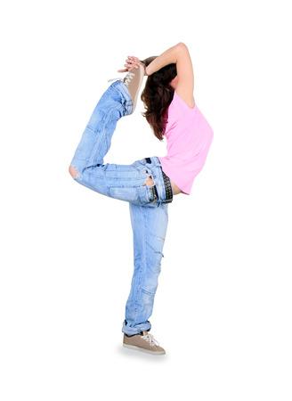 breakdance: Teenager dance breakdance in action over white