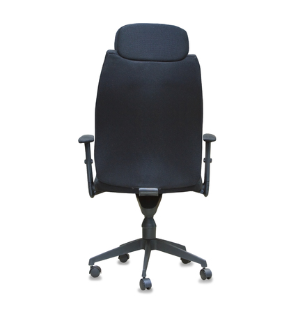back cloth: Back view of modern office chair from black cloth isolated over white Stock Photo