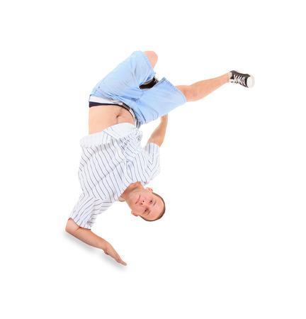 Teenager dancing break dance in action photo