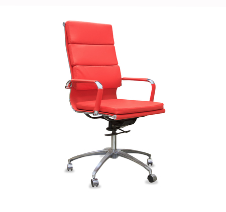 elbow chair: Modern office chair from red leather. Isolated