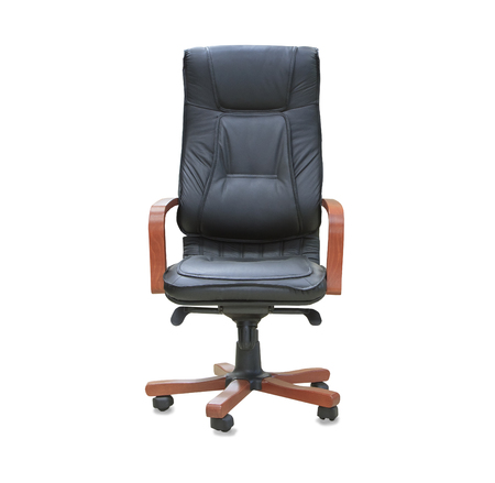 elbow chair: The office chair from black leather. Isolated