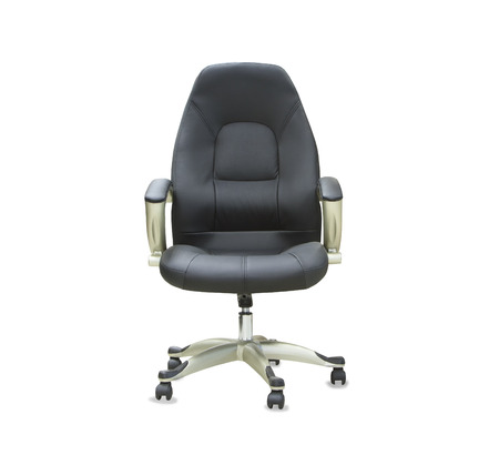 comfortable chair: The office chair from black leather. Isolated