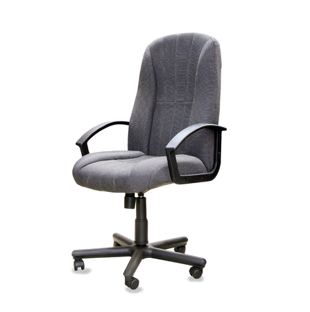 elbow chair: Modern office chair from grey cloth isolated over white