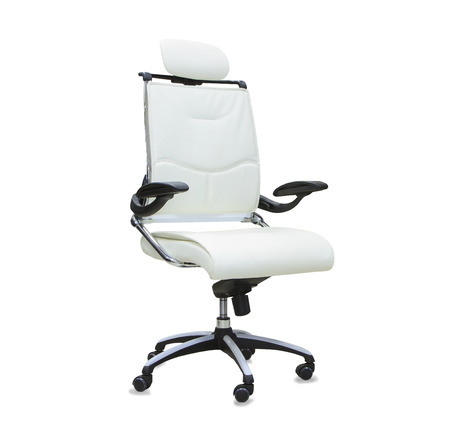 elbow chair: Office chair from white leather isolated Stock Photo