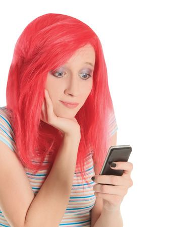 Bright picture of happy red hair woman with cell phone