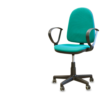 mode made: Modern office chair from green cloth isolated over white
