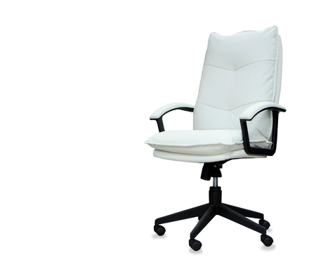 elbow chair: Modern office chair from white leather. Isolated Stock Photo