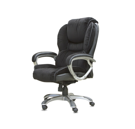 velours: The office chair from black velours Isolated