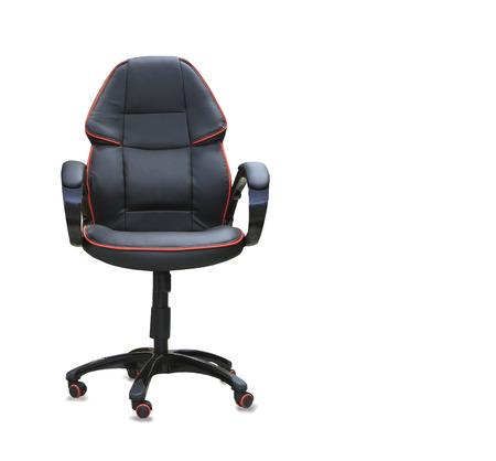 mode made: Modern office chair from black leather. Isolated