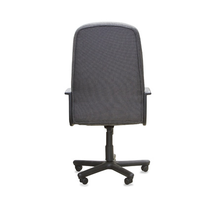 back cloth: back view of modern office chair from gray cloth. Isolated
