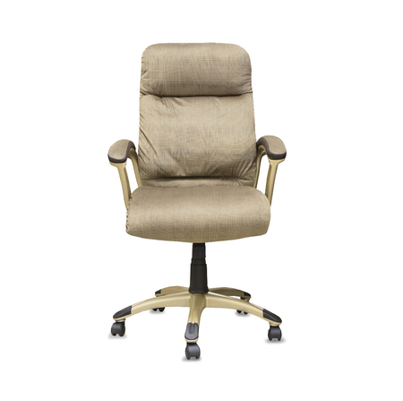 mode made: Modern office chair from beige cloth over white