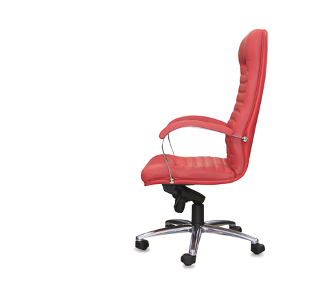 mode made: Modern office chair from red leather. Isolated