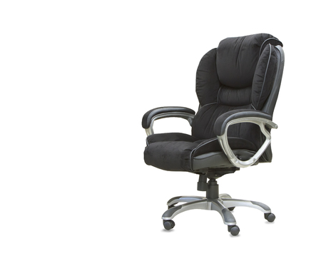elbow chair: The office chair from black velours Isolated