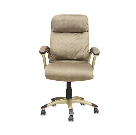 elbow chair: Modern office chair from beige cloth over white